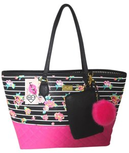 Betsey Johnson Wallet Floral Tote in BLACK/FUCHSIA