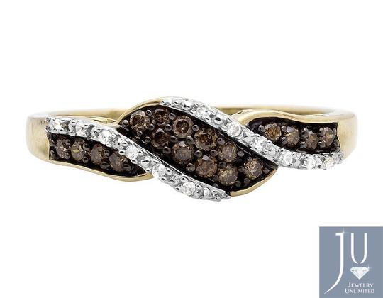 Other Swirl Ribbon Cognac Brown and White Diamond Wedding Ring Band 0.21ct