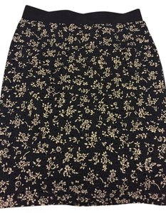 Ann Taylor Skirt Navy Blue with white flower prints
