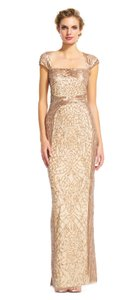 Adrianna Papell Sequin Beaded Mesh Cut-out Dress