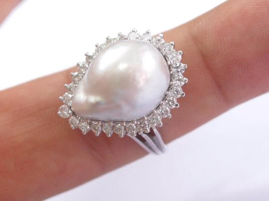 Other Fine Pearl Diamond White Gold Pear Shape BIG Jewelry Ring 18.1mm x 13.