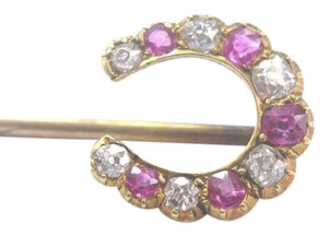 Other Fine Vintage Old Mine Cut Diamond & Ruby Horseshoe Yellow Gold Pin/Bro