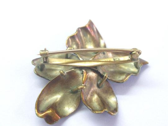 Other Vintage Purple Enamel Pearl Flower Yellow Gold Pin Brooch