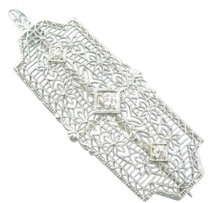 Other Vintage Old European Cut Diamond 3-Stone White Gold Pin / Brooch / Pen