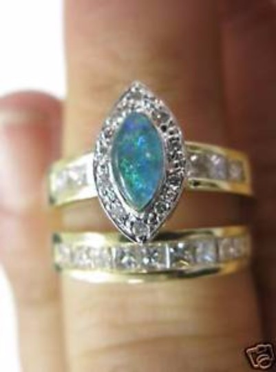 Other Fine Opal Triplet Two Ring Engagement Diamond Ring 14KT