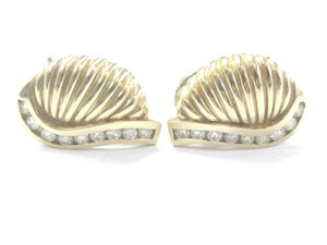 Other 18Kt Diamond Yellow Gold Shell Earrings .50Ct 18.3mm