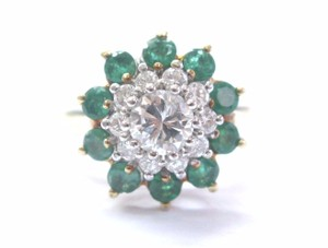 Other Fine Colombian Green Emerald Diamond Circular Yellow Gold Jewelry Ring
