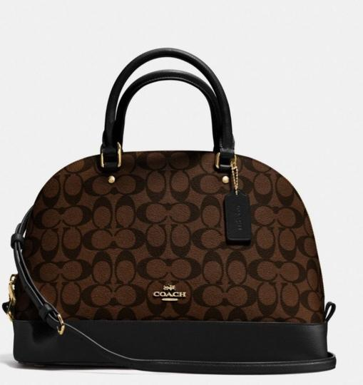 Coach Structured Dome Shoulder Strap Two-tone Top Handle Satchel in black/brown