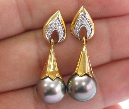 Other 18Kt Black Pearl Diamond Yellow Gold Drop Earrings 11.6mm .12Ct