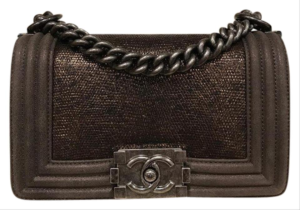 27040166efae Chanel Classic Flap Boy 14k Le Small Cc Chain Bronze Lizard Skin ...