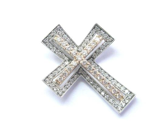 Other Fine 18Kt-14Kt Round Cut Diamond 2-Tone Gold Cross Pendant .54Ct