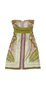 Nicole Miller short dress Olive Brown Lilac Print Strapless on Tradesy