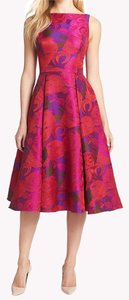 Adrianna Papell Floral Jacquard Tea Length Sleeveless Dress