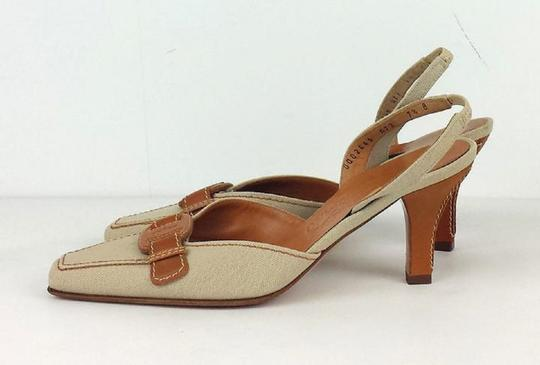 Salvatore Ferragamo Canvas Slingbacks Tan & Brown Sandals