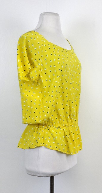 Joie Printed Silk Top Yellow