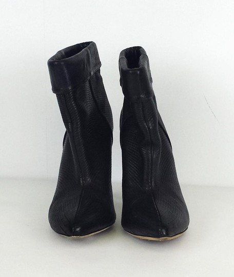 Loeffler Randall Ribbed Leather Ankle Black Boots