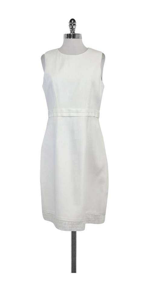 9a76ed8d4d Elie Tahari White Belted Linen Short Casual Dress Size 10 (M) - Tradesy