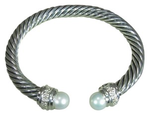 David Yurman David Yurman Pearl diamond silver bracelet 7mm