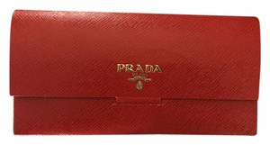Prada Wallet Envelope Calfskin Textured Red Clutch