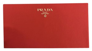 Prada Wallet Envelope Calfskin Textured Red And gold paper Clutch