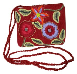 Pierre Urbach Cotton Embroidered Beaded Sequin Cross Body Bag