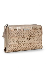 Stella & Dot gold metallic Clutch