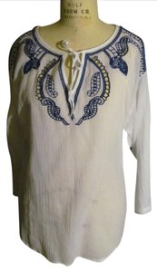 DKNY Embroidered Festival Top White