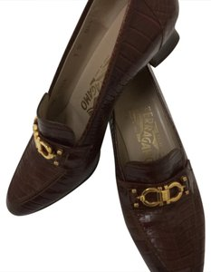 Salvatore Ferragamo Signature Crocodile Brown Pumps