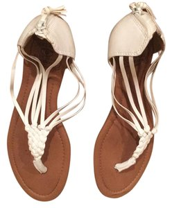 Lucky Brand white with brown sole Sandals
