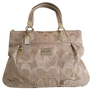 Coach Poppy Tan Metallic Tote in Tan/Beige