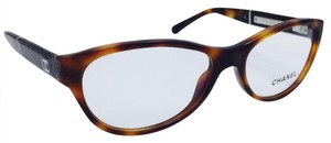 Chanel Chanel Tortoise/ Brown Patent Leather Oval Eyeglasses