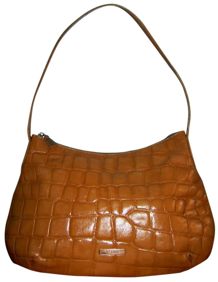 27b971c29e Desmo Croc Embossed Brown Leather Shoulder Bag - Tradesy