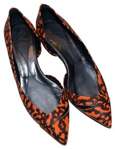 Alexander McQueen Leather Ada Pointed Toe Red/Orange/Black Flats