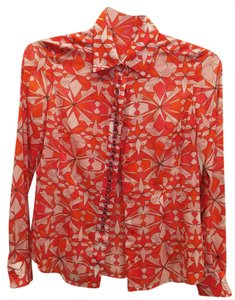 Emilio Pucci Geometric Blouses Long Sleeve Italy Button Down Shirt Orange and White