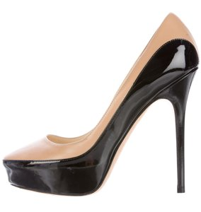 Jimmy Choo Sepia Platform Pointed Toe Anouk Patent Leather Beige, Black Pumps