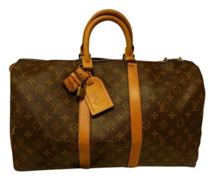 Louis Vuitton Keepall Bandouliere Monogram Brown Travel Bag