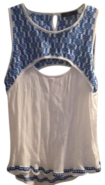 Preload https://img-static.tradesy.com/item/21124296/blue-white-embroidered-blouse-size-4-s-0-1-650-650.jpg