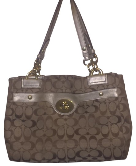 Coach Leather Signature Gold Tan Satchel in Brown