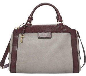 Fossil Satchel in Gray and espresso trim