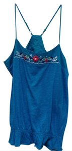 Roxy Racer-back Embroidered Cotton Top aqua