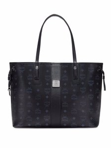 MCM Red Cognac Tote in Black