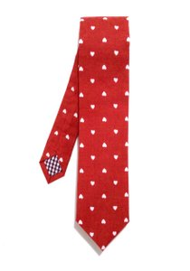 Red Hearts Necktie Crafted In Nyc