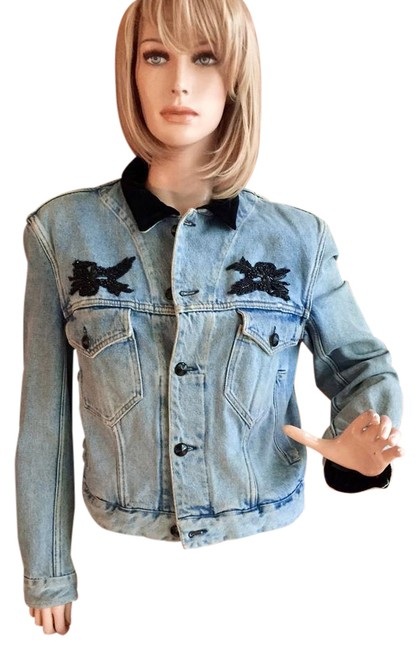 Preload https://img-static.tradesy.com/item/21124440/katherine-hamnett-blue-beaded-denim-jacket-size-8-m-0-2-650-650.jpg