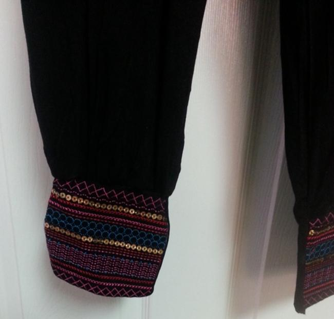 India Boutique Summer Of Love Embroidered Sequins Baggy Pants Black