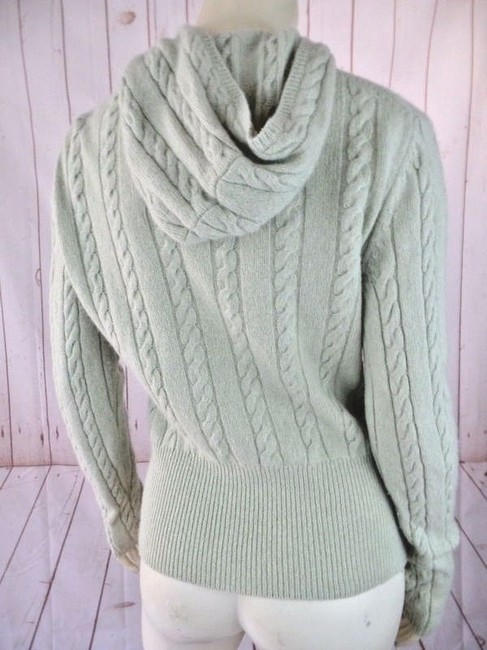 Ann Taylor LOFT Zip Front Cable Knit Hoodie Spring Sweater