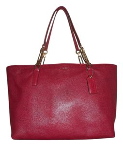 Coach Leather Tote in Dark Pink