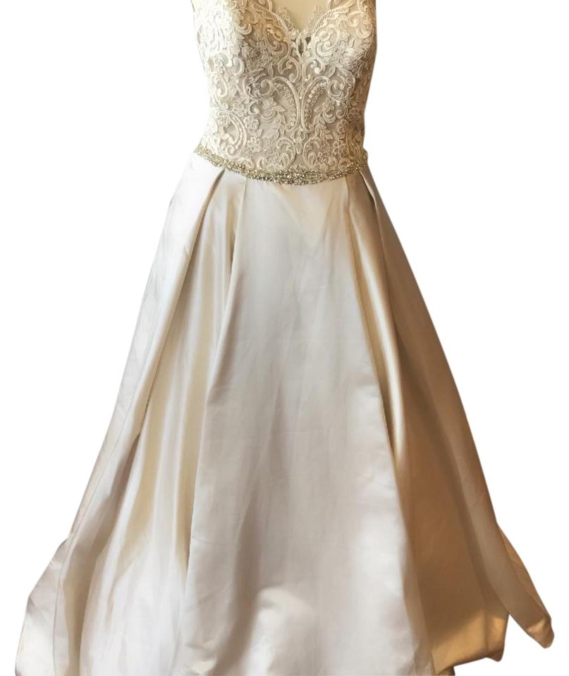 a07eeddcda58 Mori Lee Champagne Satin and Lace Macclaine- 8103 Traditional Wedding Dress