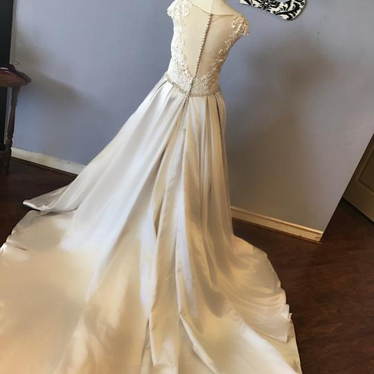 Mori Lee Champagne Satin and Lace Macclaine- 8103 Traditional Wedding Dress Size 10 (M)