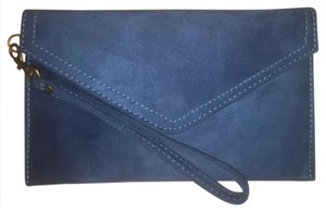 Maurices Faux Suede Envelope Teal Turquoise Clutch