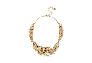 Betsey Johnson Betsey Johnson Gold-Tone Crystal Feather Statement Necklace
